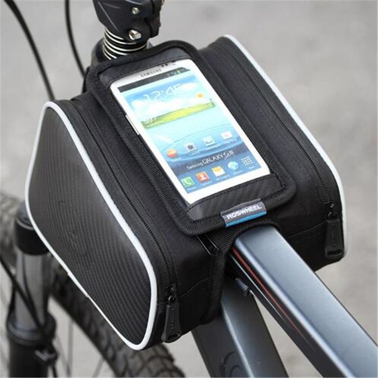 Roswheel 1.8L Waterproof Cycling Front Tube Frame Bag Touch Screen Pannier Bicycle Double Phone Pouch for 4.8/5.5in Cellphone