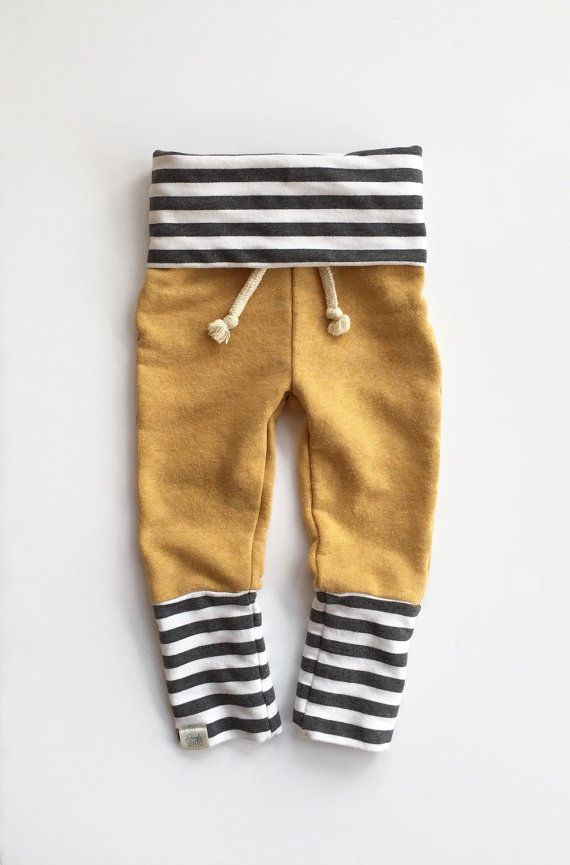 6-12 Months / Mustard Yellow Sweat Pants / Baby Boy Skinny Sweats / Baby Girl…