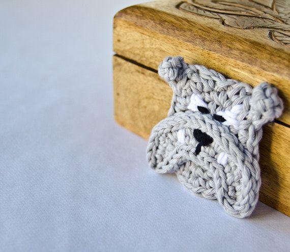 PDF Crochet Pattern - English Bulldog Applique - Text instructions and SYMBOL CHART instructions. $3.75, via Etsy.
