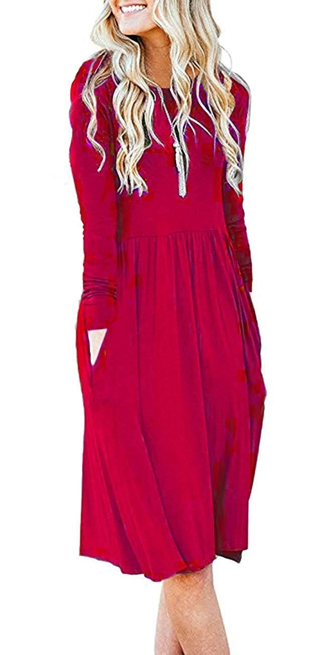 28ce2220292a AUSELILY Women's Long Sleeve Pockets Empire Waist Pleated Loose Swing  Casual Flare Dress
