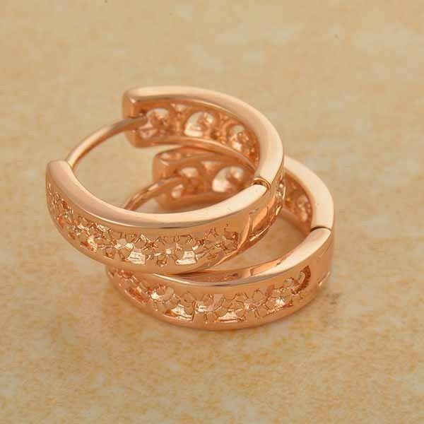 9K Rose gold-filled, openwork hoop earrings,  15mm x 14mm x 4mm