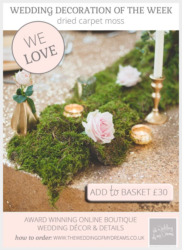 Dried Carpet Moss For Weddings available to buy online from @theweddingomd