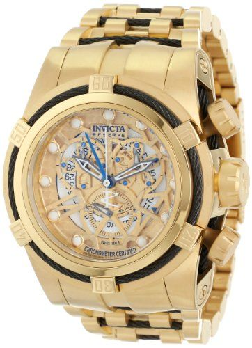 Invicta Men's 12903 Bolt Reserve Chronograph Gold Tone Dial 18k Gold Ion-Plated Stainless Steel Watch