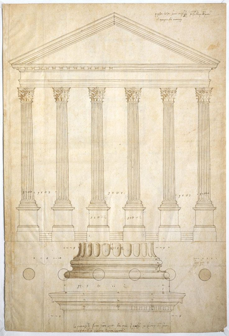 """Andrea Palladio's sketch of the """"Temple of Minerva"""" in Assisi...with an invented stylobate (steps)."""
