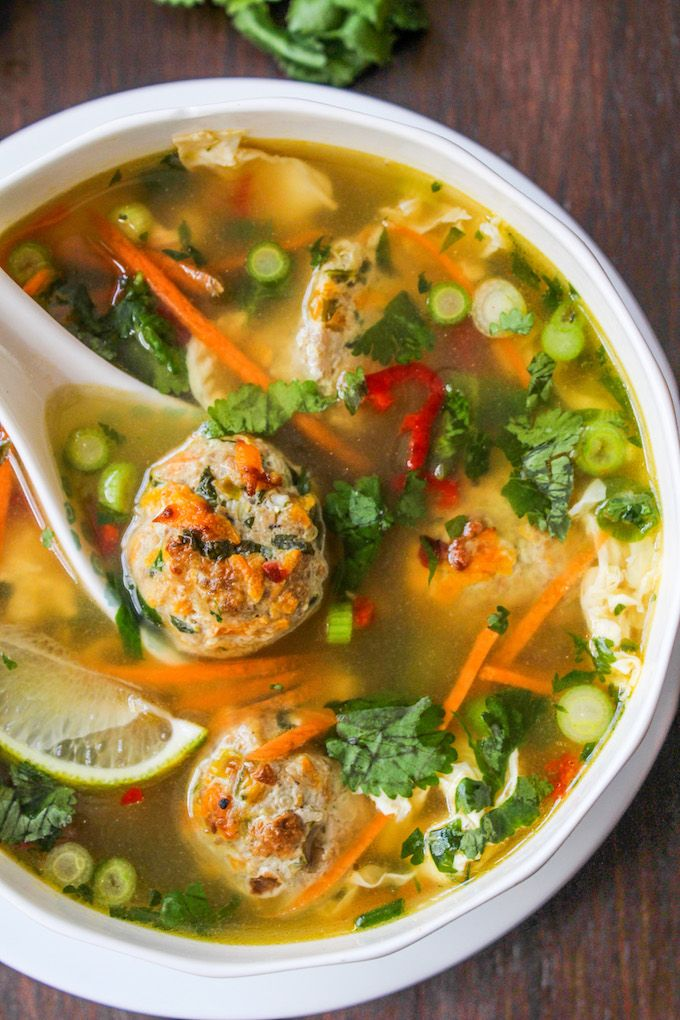 Thai Meatball and Egg Drop Soup: Thai flavors mixed into a traditional egg drop broth for a comforting and filling soup. Not your average egg drop soup! Paleo + Whole 30 + Low Carb