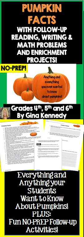 """Students become pumpkin experts with this fun teacher friendly no-prep lesson. After reading through 35 pumpkin facts, your students will answer follow-up comprehension and math problem solving questions based on the pumpkin facts. Once they have completed the pumpkin questions, they will choose to complete two out of five fun """"pumpkin"""" projects based on the facts provided. From marketing their pumpkin farm to helping pumpkin pies give pecan pies a hard time, the projects will provide....$"""
