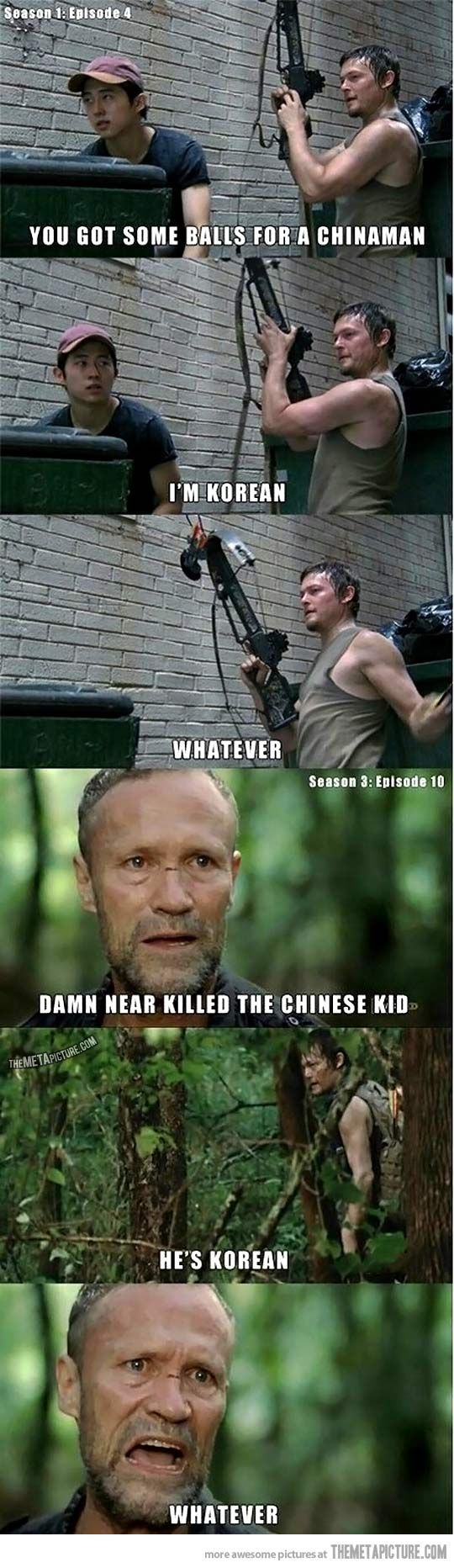 Okay, I loved when they brought this back around. It really drove home Daryl's change since season 1. Daryl Dixon. Merle Dixon. Glenn Rhee. Walking Dead.