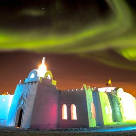 The Snow King Castle in Yellowknife, NWT is up for the month of March each year Photo by Jason Simpson www.snowking.ca