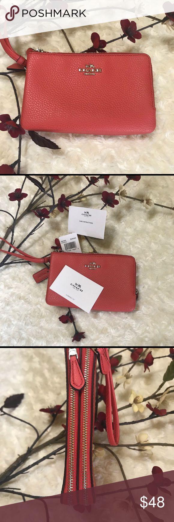 """Coach pebble leather wristlet. NWT Authentic Coach pebble leather, double corner zip wristlet in deep orange   Features two separate zippered compartments one used for credit card, ID, money etc and the other for phone. Gold tone hardware with heritage horse and carriage coach logo Wallet 6.25""""Lx4""""Hx1""""W Strap 6 1/4"""" L x 4"""" H NWT Coach Bags Clutches & Wristlets"""