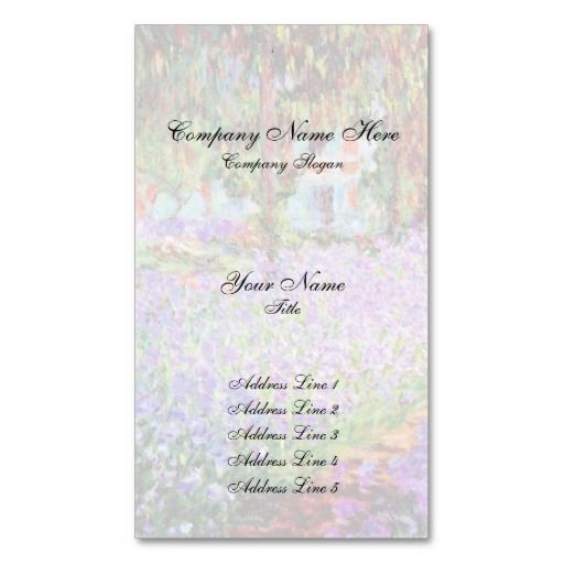 garden in giverny by monet business card - Garden Design Business Cards