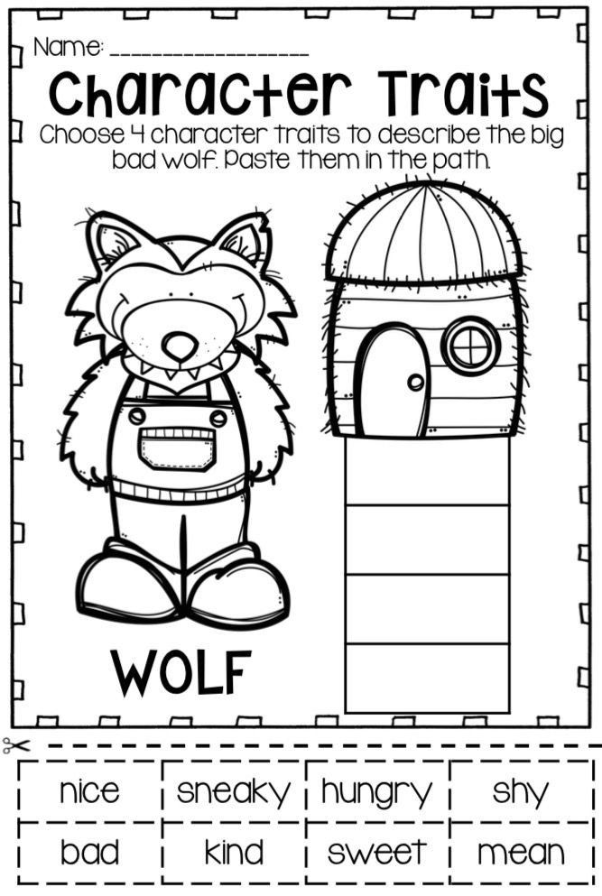 Fairy Tale Worksheets For Kindergarten Character Traits Of The Big Bad Wolf From The Three Little In 2020 Little Pigs Three Little Pigs Fairy Tales Kindergarten