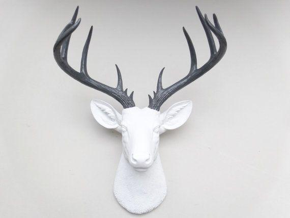 Large Deer Head - White and Gray Deer Head Wall Mount - 14 Point Stag Head - 25+ Best Ideas About Faux Deer Head On Pinterest Deer Head Decor