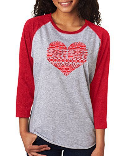 Image result for SignatureTshirts Women's Valentines Day Geometric Bohemian Heart Design 3/4 T-shirt