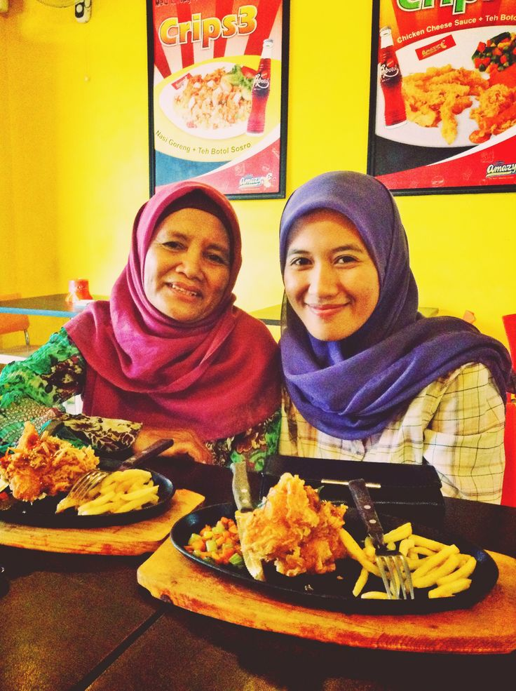 Satnight with my mother and younger sister.
