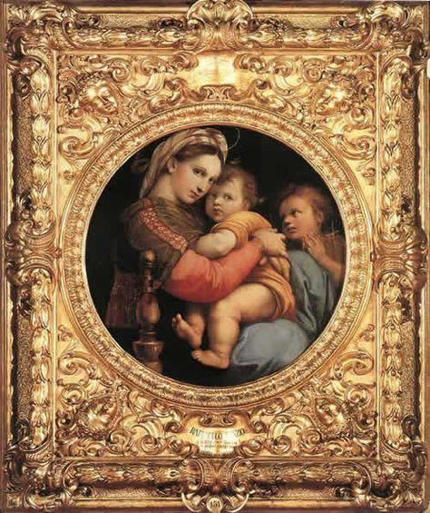 小椅子の聖母  /  ラファエロ・サンティ / 1514 / ルネサンス / 聖母マリア・幼子キリスト・使徒ヨハネ