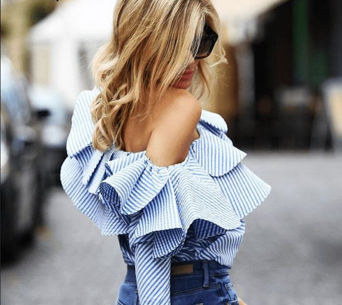One shoulder ruffled long sleeved top