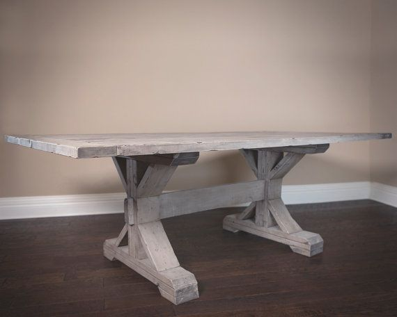 Farmhouse Dining Table In Weathered Gray CONSOLE And