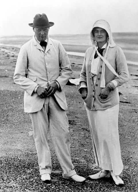 Winston and Clementine Churchill  on holiday at Sandwich in Kent. 1914.