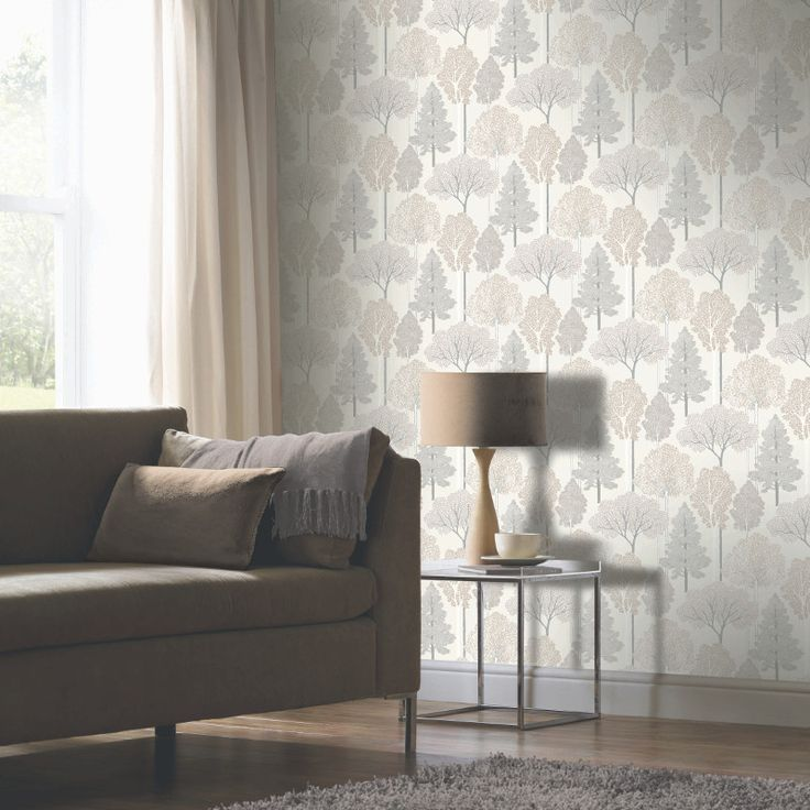 Arthouse Ellwood Glitter Trees Wallpaper in Neutral - 670001