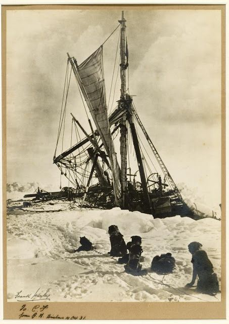 Frank Hurley - The 'Endurance' crushed between the floes. A week after the ship had been forced out of the ice came the final blow, the pressure crushed the ship into a mass of broken timber fragments, and the Endurance sank on October 25, 1915.