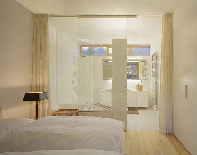 badezimmer modern einrichten matt glas schiebetür schlafzimmer - schiebetüren für badezimmer