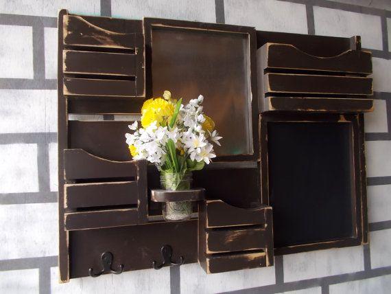 Message Center  Magnetic Board  Chalkboard  Kitchen Decor  Mail Organizer  Magazine  Holder