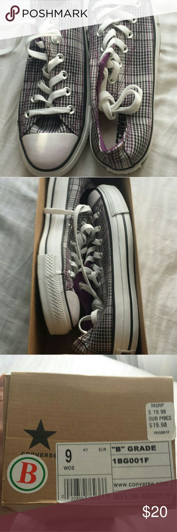 NWT Women's Converse Plaid Sneakers Women's size 9 Converse (never worn!) Has grey and purple plaid pattern Purchased from Converse outlet Converse Shoes Sneakers