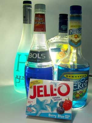 deciding which alcohol goes best with blue jello!