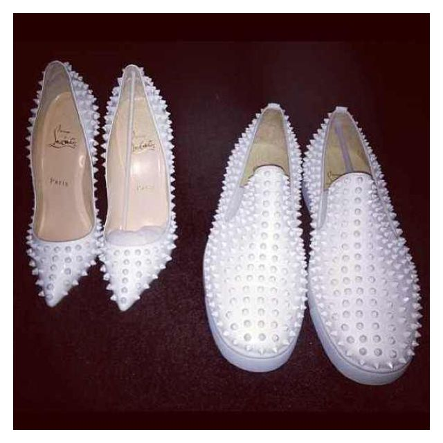 his: louboutin white patent studded loafers. hers: matching white louboutin pigalles. #hisandhers #shoeporn