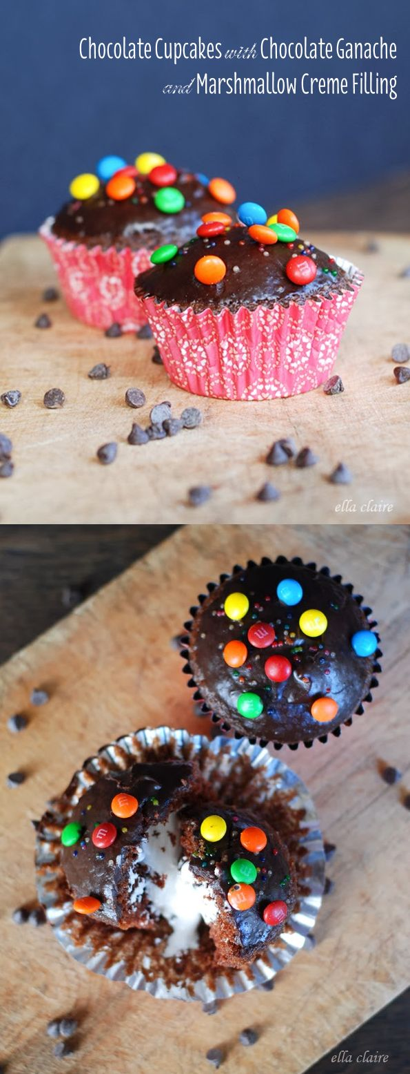 {Ella Claire}: Homemade Chocolate Cupcakes with Chocolate Ganache & Marshmallow Creme Filling