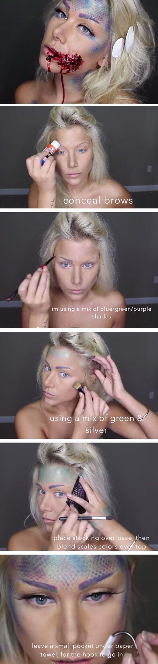 Meerjungfrau Makeup für Halloween