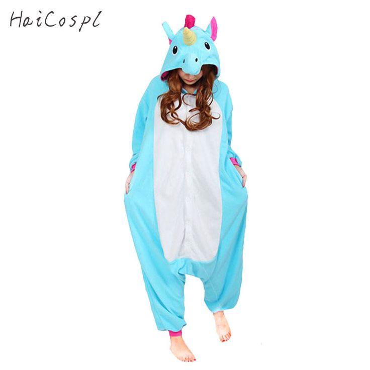 Licorne Pyjamas Femmes Cosplay Costume Animal Onesie Filles Bleu Rose Violet Homewear Flanelle Chaud Lâche Doux Salopette Enfant et Adulte