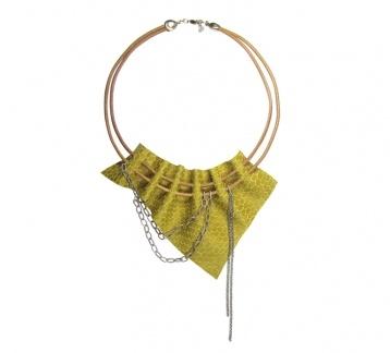 Sarı Hakiki Deri Kolye / Leather Necklace