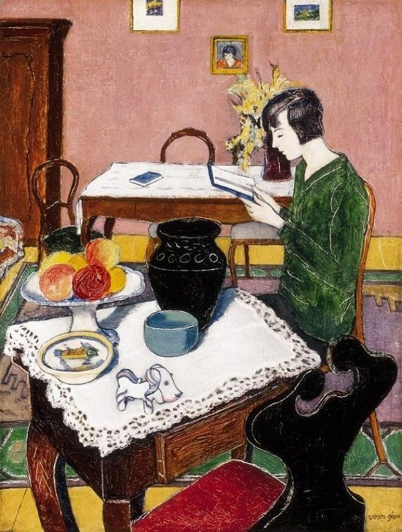 Géza Vörös (Hungarian, 1897-1957): Reading Woman, (Ecole de Paris. Oil on canvas)