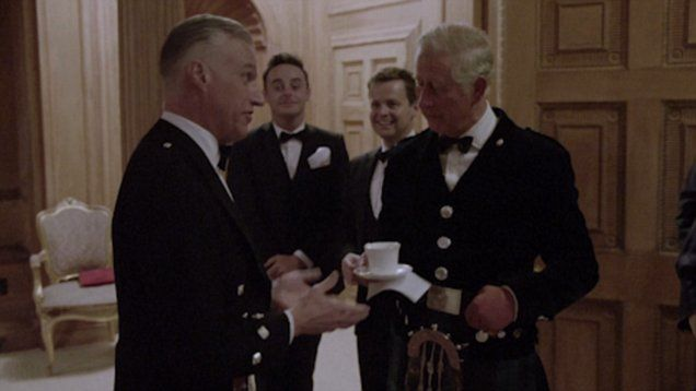 In a clip from an ITV documentary Prince Charles is seen joining in on singing a Scottish folk song  in front of a gathering at Dumfries House including Ant and Dec