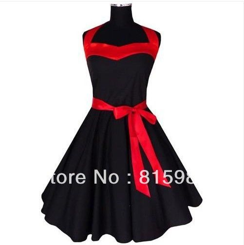 red and black pin up dress   ... Black-with-Red-Ribbon-50-s-60-s-Rockabilly-Dress-PIN-UP-Swing-DRESS