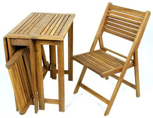 Ivena International IVN00057 Saigon Table And Char Set By Patio Furniture.  $152.97. Chairs Can Be Folded And Placed Under The Collapsed Table For Cu2026