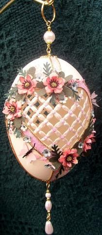 Posy heart;  hand carved goose egg; floral punch art, ornaments, eggart