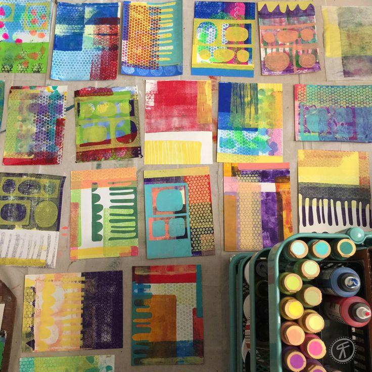 Rachel Fontenot - Gelli Plate Prints - acrylic - paint - printmaking: