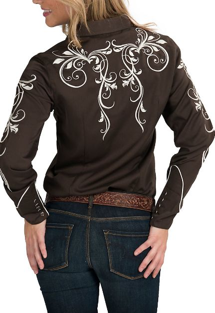 Roper Brown Retro Western Shirt with Ivory Embroidery