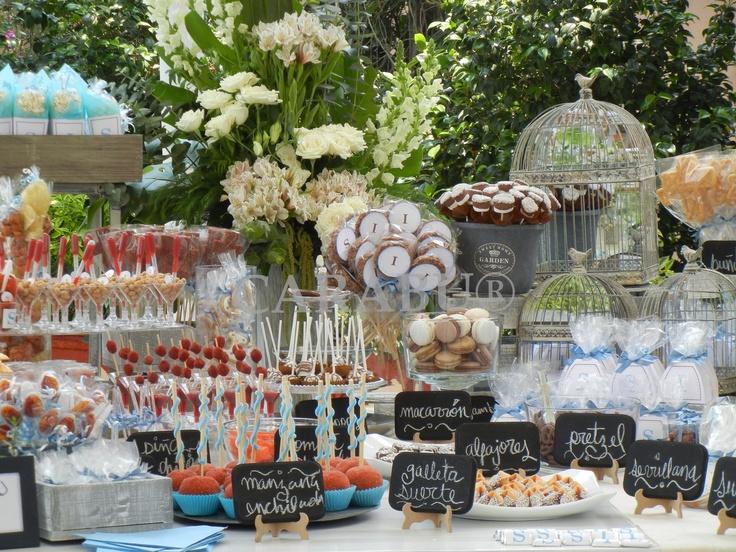 Mesa de dulces primera comuni n tablones para fiestas - Jardines decorados para fiestas ...