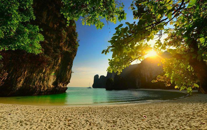 Download wallpapers Thailand, beach, sea, tropical islands, sunset, evening, palms, Thailand landmarks