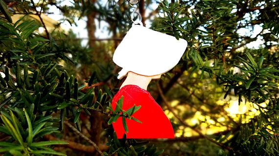 Handmaid's Tale Wings Holiday Ornament  Stand with women everywhere who resist inequality and brutality.  3D printed from PLA biodegradable plastic.   Hand painted with acrylic paints.  Available in three skin tones.  ******Tree hanger not included.******  #handmaidstale #resist #equality #christmas #ornament  #holidays #etsy #etsyshop #etsyseller
