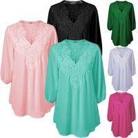 Wish | Women's Fashion Lace V-neck Loose T Shirts Plus Size XS-5XL
