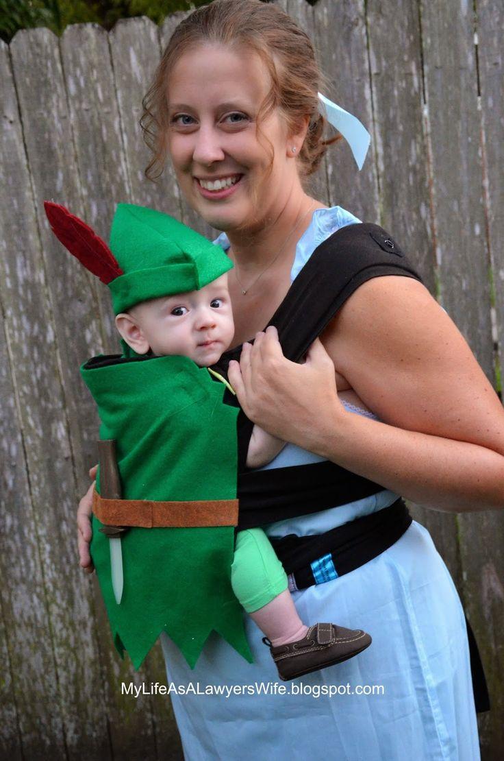 diy peter pan and wendy babywearing halloween costumes - Baby Grinch Halloween Costume