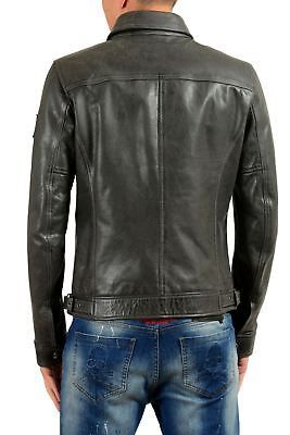 3d470abfe Details about Just Cavalli Men's 100% Leather Star Full Zip Bomber ...