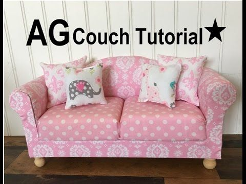 Tutorial for making your own American Girl Doll Living Room Couch and Chair. Easy DIY that anyone can make. How to make cute furniture!