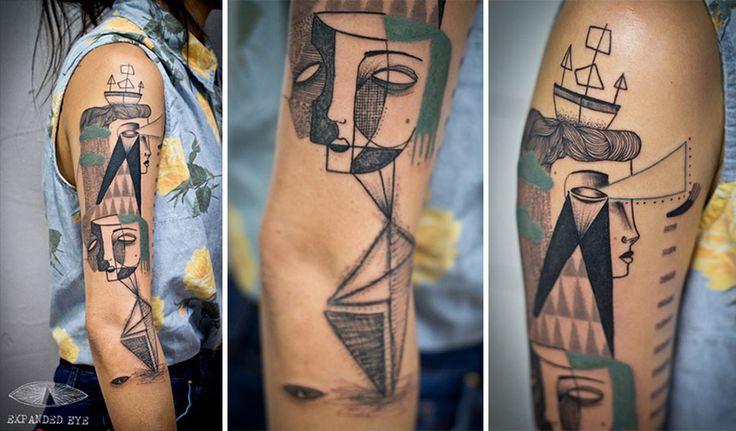 Artistas criam tatuagens cubistas baseadas em histórias dos clientes | Estilo