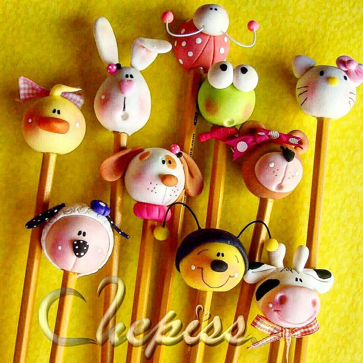 Animalitos para lápiz Pasta flexible  Chepiss Arte Manual