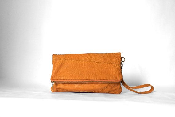 Foldover Clutch in Burnt Orange/ Leather Clutch / by morelle, $69.00